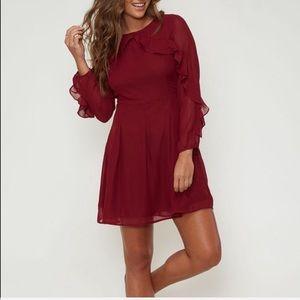 Burgundy Long Sleeve Ruffled Mini Dress